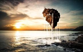 water, island, render, stars, sunset, sea