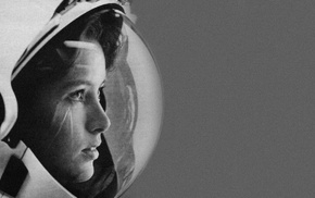space, Anna Lee Fisher, astronaut, monochrome, NASA