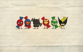 супермен, Бэтмен, супергерой, минимализм, железный человек