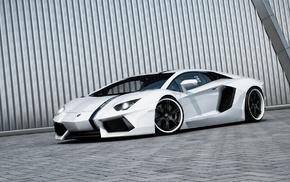 car, Lamborghini, white cars