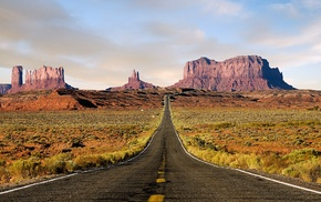 highway, nature, desert, landscape, Monument Valley, road