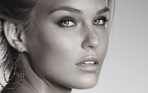 freckles, face, open mouth, blonde, Bar Refaeli, monochrome