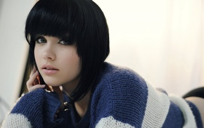 blue eyes, sweater, Melissa Clarke, model, black hair, girl