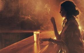 курение, дым, девушка