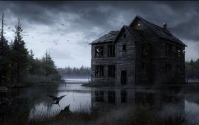 дом, вода