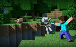 Minecraft, video games, pigs, Steve, skeleton
