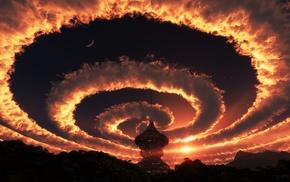 пейзаж, облака, фантастическое исскуство, небо