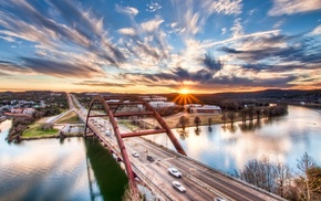 bridge, Texas, sunset, HDR, cityscape, river