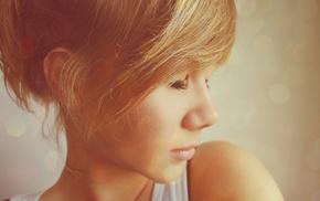 closeup, girl, blurred, filter, redhead, face