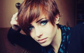 пирсинг, девушка, рыжие, голубые глаза, лицо