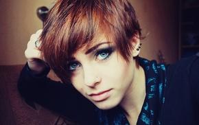 piercing, girl, Lana Branishti, redhead, blue eyes, face