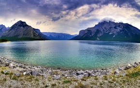 lake, Canada, nature, landscape, mountain, Lake Minnewaka