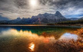 горы, закат, отражение, пейзаж, озеро