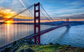 Golden Gate Bridge, bridge, HDR, sea, sunset