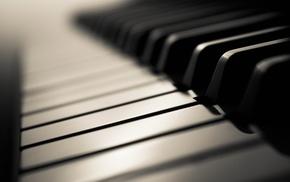 monochrome, piano, closeup, depth of field