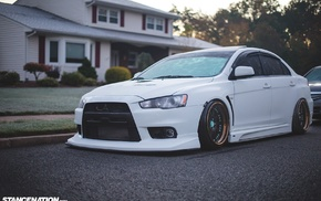 car, white cars, Stance, evolution, Mitsubishi, DAT3VO