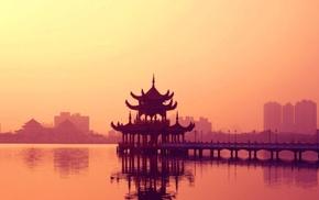 pagoda, water
