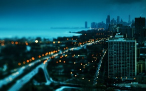 cityscape, building, bokeh, Chicago, tilt shift