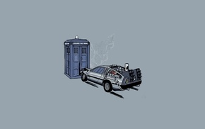 TARDIS, Doctor Who, lightning, DeLorean, simple background, storm