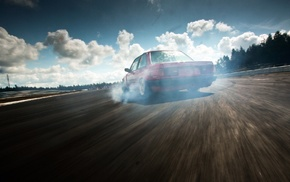 clouds, BMW E30, drift, smoke, car, race tracks