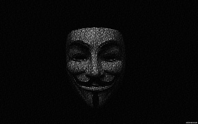 typography, Guy Fawkes mask, Guy Fawkes, typographic portraits, monochrome