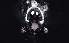smoke, girl, black, gas masks