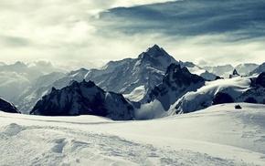 снег, горы, пейзаж, зима