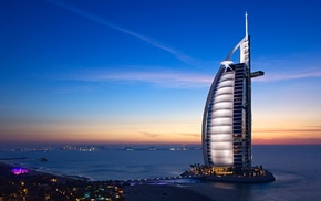 hotels, Burj Al Arab, United Arab Emirates, city, cityscape, Dubai