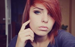 blue eyes, girl, redhead