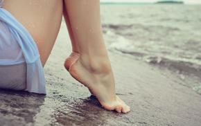 босиком, ноги, мокро, вода, пляж