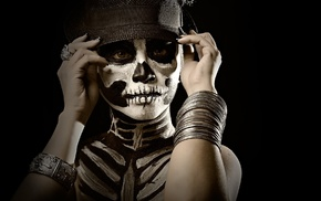 face paint, girl, Sugar Skull, body paint, black