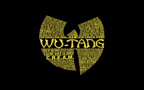 Wu, Tang Clan, dark, minimalism, typography, black background