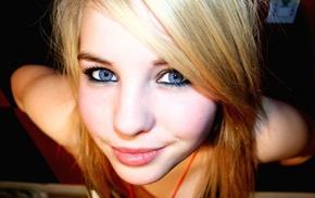 глаза, голубые глаза, улыбка, блондинка, девушка