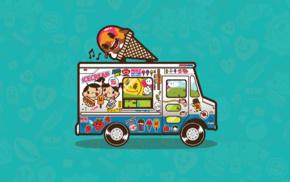Jared Nickerson, ice cream, artwork, simple background, trucks