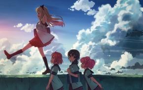 школьная форма, небо, девушки из аниме, облака, аниме