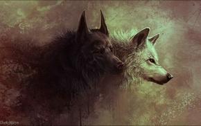 волк, произведение искусства, красные галаза, животные