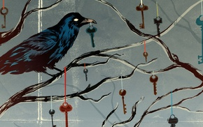 keys, raven, spooky, artwork, crow, trees