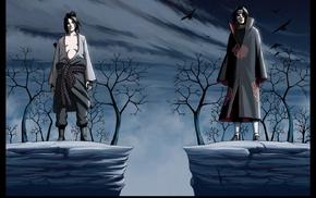 Akatsuki, raven, Uchiha Sasuke, brothers, Naruto Shippuuden, Uchiha Itachi