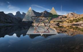 треугольник, абстрактные, пейзаж