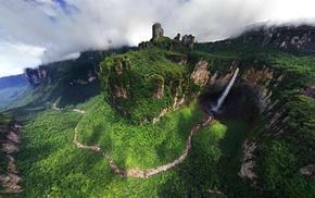 Dragon Falls, Angel Falls, river, landscape, Venezuela, mountain