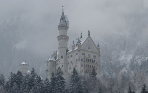 winter, Gothic, Germany, architecture, snow, castle