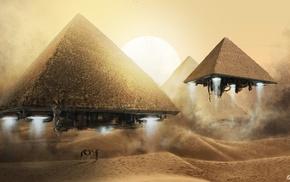 пустыня, пирамида, фантастическое исскуство, песок, абстрактные