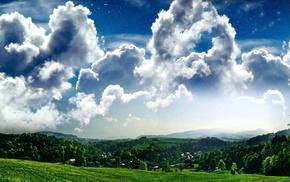 природа, зеленый лесок, поле, пушистые облака