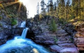 пейзаж, вода, солнечный свет, водопад