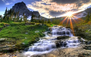 sunrise, landscape, sky, sunlight, waterfall, water