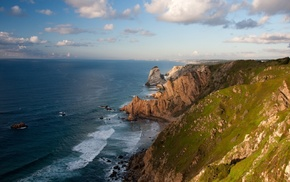 пейзаж, облака, море, скала, природа