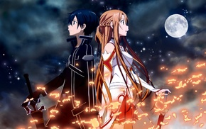 Sword Art Online, Kirigaya Kazuto, long hair, Yuuki Asuna, dark hair, orange hair