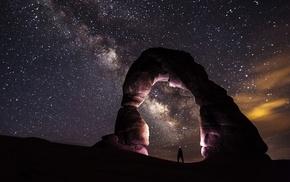 landscape, sky, night, stars