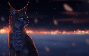 animals, cat, glowing eyes, lynx