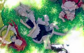 Remilia Scarlet, anime girls, Touhou, Hong Meiling, apron, sleeping